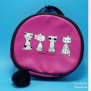 Stella & Max cats bag case pink black pom-pom zipp